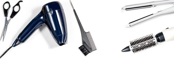 ciseaux seche-cheveux peigne brosse soufflante et lisseur